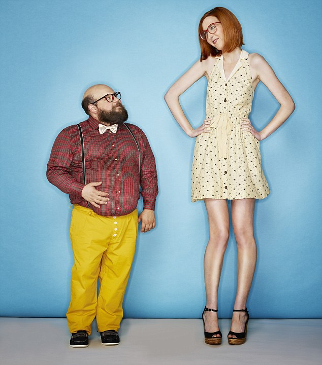 Tall woman and short man